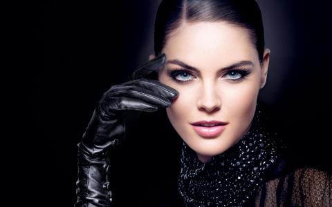 希拉里罗达,手套,看,微笑,美丽的女孩,脸,性感,魅力