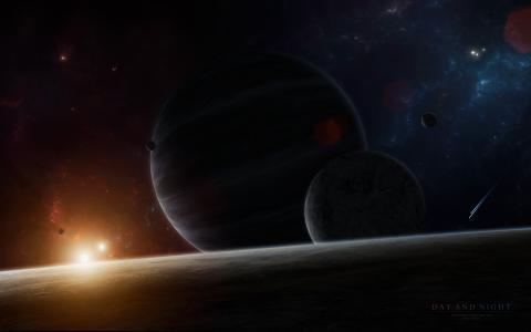 卫星,发光,行星,星星,星系