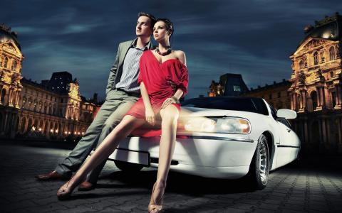 夫妇,城市,光,车