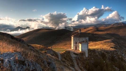 云,景观,性质,丘陵,教堂
