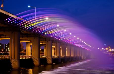 韩国,亚洲,城市,banpobridge,彩虹,首尔