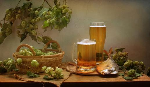 表,篮,啤酒花,托盘,马克杯,啤酒,鱼,