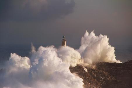 海洋,元素,波,岩,灯塔,天空,美女