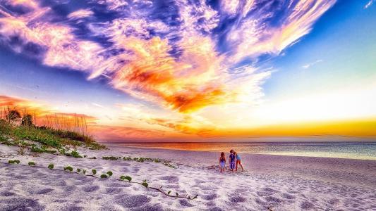 孩子,沙滩,天空