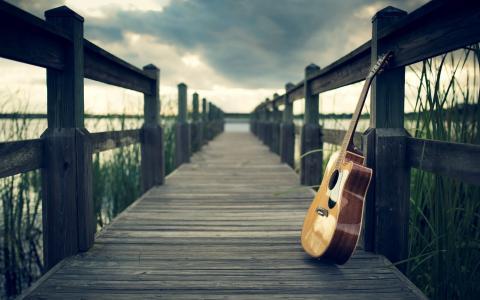 夏天,河,码头,吉他,休息,积极