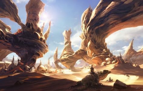 沙漠,岩石,艺术,马,城市,男人,蜥蜴