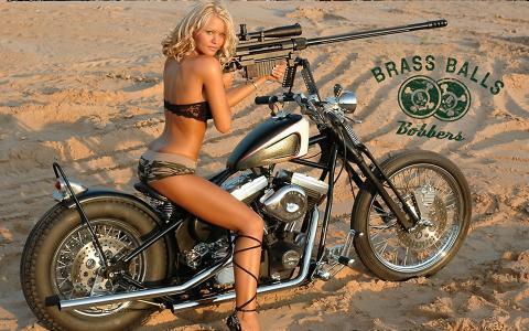女孩,武器,摩托车