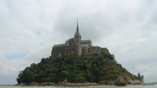 法国,城堡,岛,绿化,树木,水,天空,美女