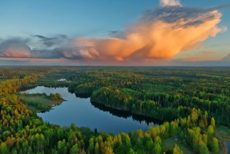 照片,大自然,美丽,森林,云,湖