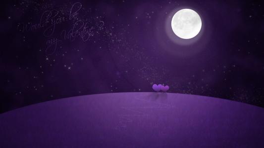 晚上,星星,心,情人节,月亮