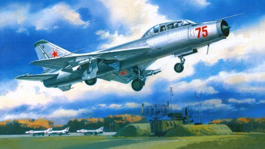 战斗机拦截机,苏9U,少女,机场,起飞