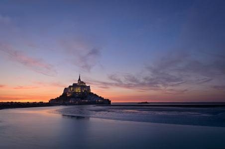 法国,诺曼底,城堡,水,天空,日落,美女