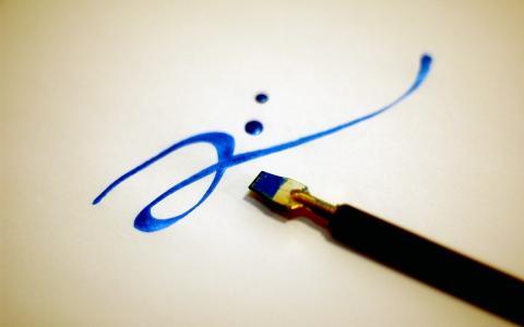中风,画笔,蓝色的油漆,书法