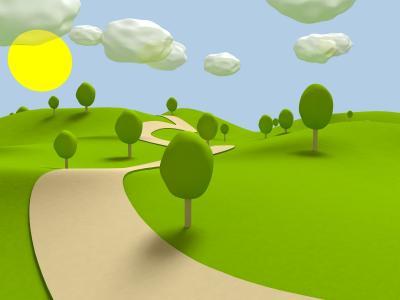 太阳,草,路径,云