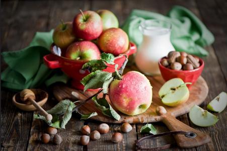 苹果,坚果,板,美容,静物,美容,构图别致,美味