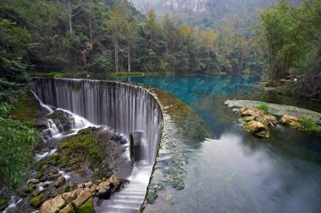 自然,山,森林,河,大坝