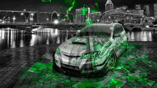 托尼科汉,斯巴鲁,Impreza,WRX,STI,JDM,动画,气象,绿色,霓虹灯,效果,城市,夜景,Photoshop,托尼柯恩,Photoshop,风格,喷枪,斯巴鲁,Impr