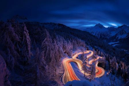 自然,冬季,山,雪,路,蛇纹石