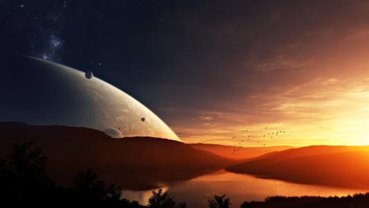 行星日落,群鸟,卫星