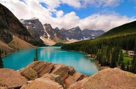 山,湖,天空,云,树,美丽