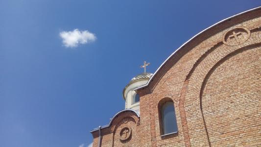 建筑,天空,云,砖,墙,十字架,教会,stina,tsegla,tserkva,天空,hmara,窗口,窗口,dah,建筑物