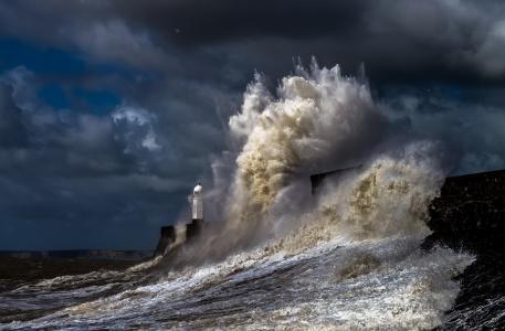 灯塔,防波堤,海,性质,风暴,波,喷雾,美丽