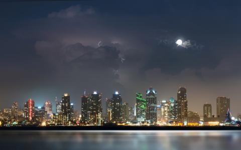 水,月亮,圣迭戈,城市,夜,河,灯,风暴,云