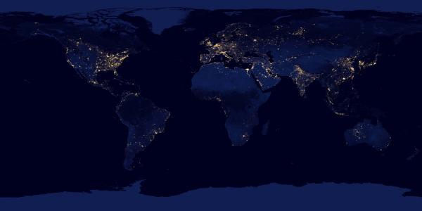 美国航空航天局,晚上,地图,大洲,地球,行星,宇宙,灯