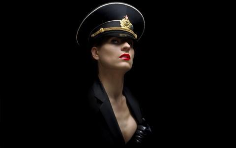 帽,女孩,背景,极简主义