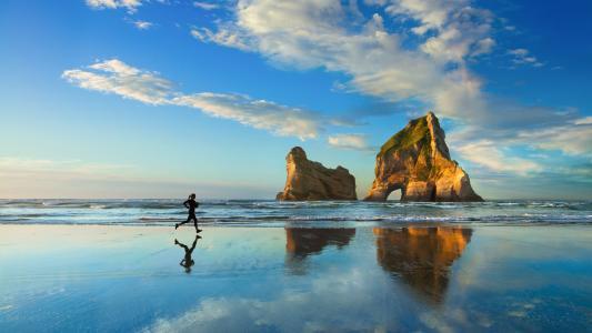 运动员,慢跑,海,海岸,沙子