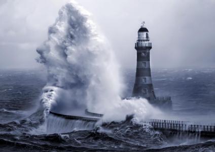 自然,海,风暴,波,灯塔,防波堤,美丽