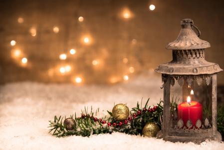 假日,新年,冬天,装饰,雪,灯笼,蜡烛,分支,针,装饰,玩具,球,珠,散景