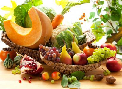 胡萝卜,柿子,石榴,南瓜,葡萄,蔬菜,卷心菜