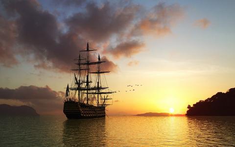 帆船,艺术,游戏