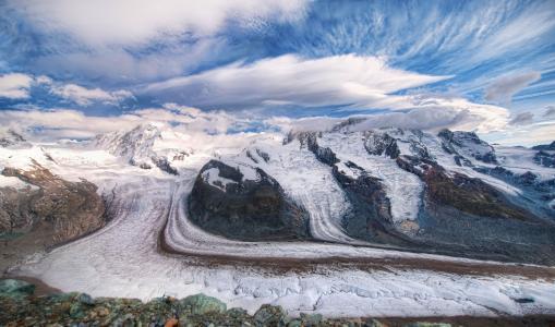 冰川,瑞士,瑞士,山,云