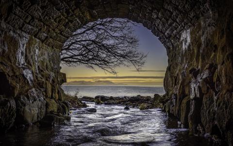 隧道,海湾,水