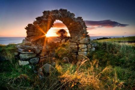 拱,石头,领域,天空,太阳,海