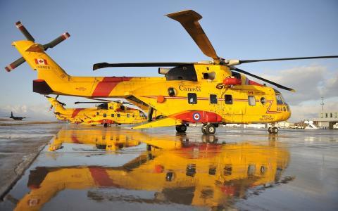 直升机,黄色,水,救援,飞行