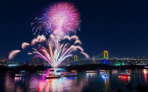 晚上,烟花,东京,日本,城市,船只