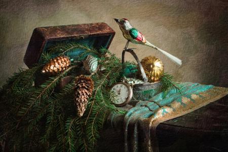 假期,新的一年,圣诞节,玩具,分支机构,云杉,时钟,框,棺材,鸟