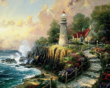绘画,和平的光,房子,艺术,海,托马斯kinkade,平房,灯塔