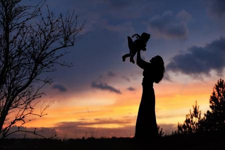 晚上,黎明,现场,剪影,母亲,孩子,游戏,幸福