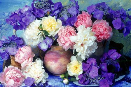 绣球花,花瓶,牡丹,花束,鲜花,墙,丁香