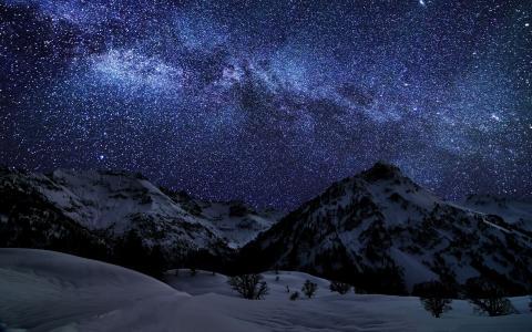紫色,冬天,星星,山,夜