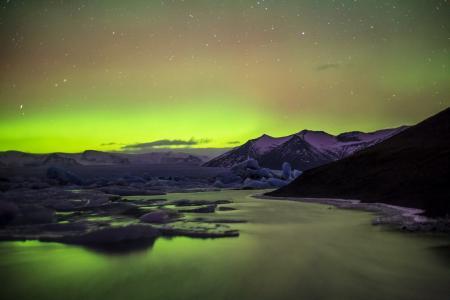 极光,北极光,山脉,天空,发光,美丽