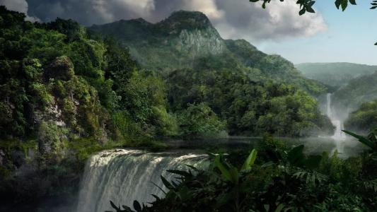 瀑布,水,大自然