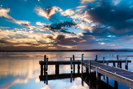 鸟,云,码头,天空,水,pelkeys