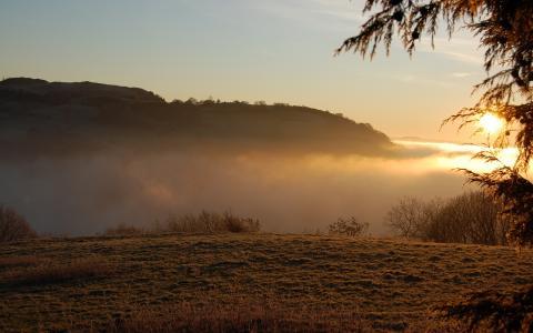 自然,云,光,日落,山,景观