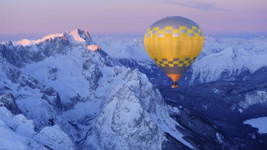 空气,球,美丽,山,景观