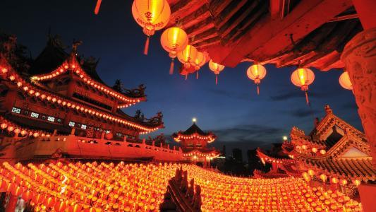 吉隆坡,天后宫,纸,灯笼